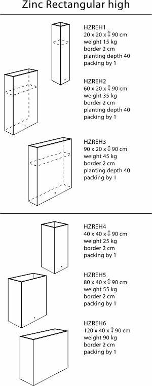 zink-rechteckig-hoch-sizes